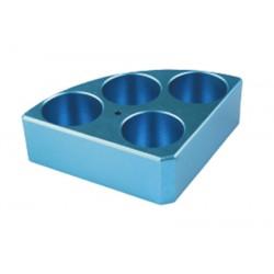 Soporte poli-block azul, 4 orificios, Ø28x30mm