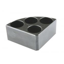Soporte poli-block negro, 4 orificios, Ø28x43mm