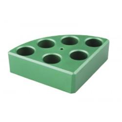 Soporte poli-block verde, 6 orificios, Ø17,8x26mm