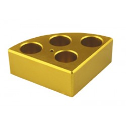 Soporte poli-block dorado,4orificios, Ø21,6x31,7mm