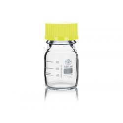 Frasco ISO Simax con tapón y anillo amarillo 100ml